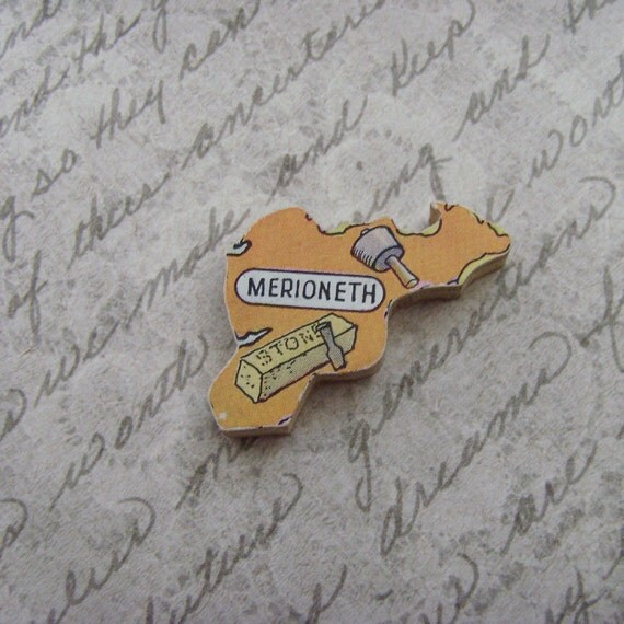 MERIONETH WALES Brooch - Lapel Pin // Orange // Upcycled 50s UK Wood Puzzle Piece