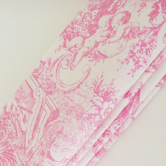 Victorian Toile Napkins // Pink - White // Feminine Romance // Bridal Wedding Shower // Set of 4
