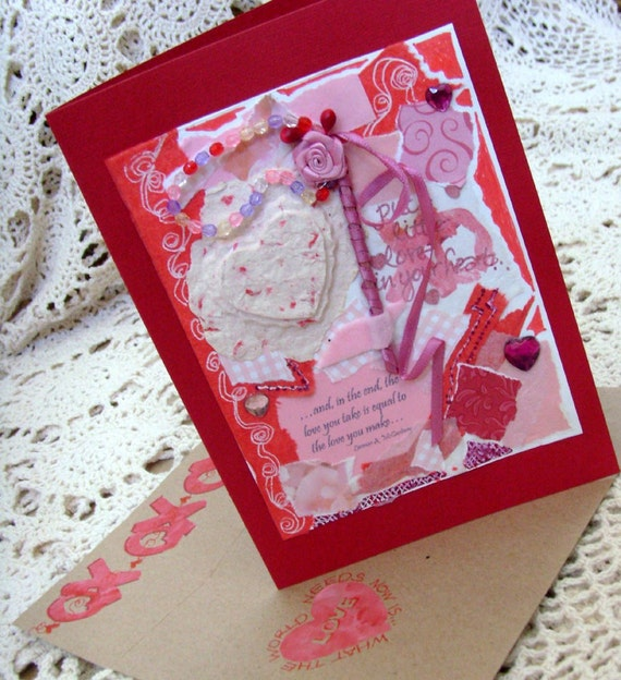 Thoughts of Love Card / No. 10 / OOAK / Red - White - Pink Handmade Papers / Rose - Velvet - Jewels / Original Card