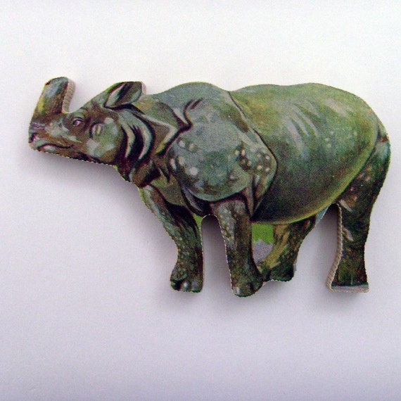 RHINOCEROS Wood Brooch from 60s UK Puzzle