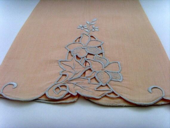 Vintage Embroidered Peach Tea Towel / Hand Towel Pale Pearl Gray 1950s Mid Century Feminine Cutwork