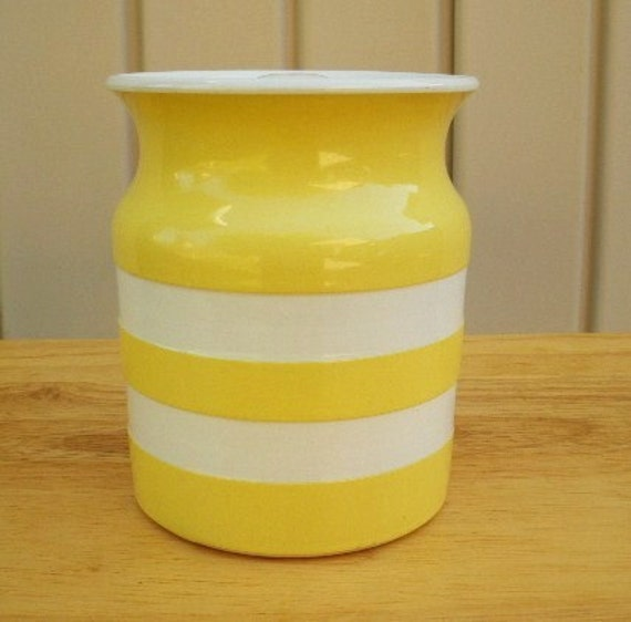T G Green Cornishware Sunny Yellow Striped Canister