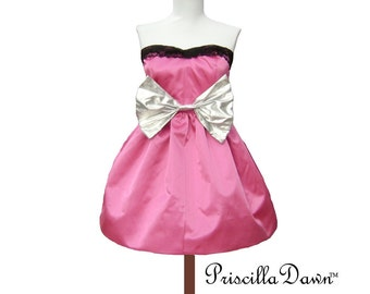 Summer sale Barbie style Custom in your size Bubble Dress Perfect for prom silver and pink