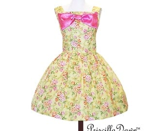 Summer Sale Pink Bow square neckline tea party dress Custom in your size floral Tea Dress