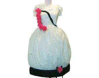Custim in your size Little Garden Roses Porcelain Doll Bubble Hem Dress