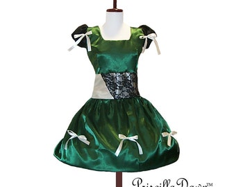 Green Satin little cap sleeved classic diva dress with ribbons custom in your size