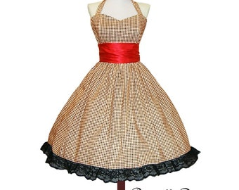 Made to order to your size Classy BROWN or black Tartan Swing Dress Retro Inspired