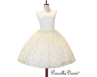Made to order Teaparty Lace Wedding or Tea Dress and Petticoat Vintage inspired Lacey wedding Gown