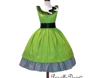 Custom in Your Size Sweet Green Polkadotted Rockabilly Dress with Underskirt