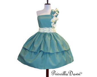 Cotton Cup Dress with flowers and One shoulder Custom in Your size and Color Preference Prom