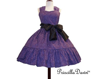 Summer Sale CUSTOM in YOUR SIZE purple rockabilly Dress with ruffle and sash floral teaparty dress
