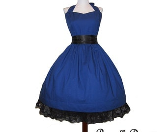 Summer Sale Made to order Classy Blue Swing Dress in polkadots