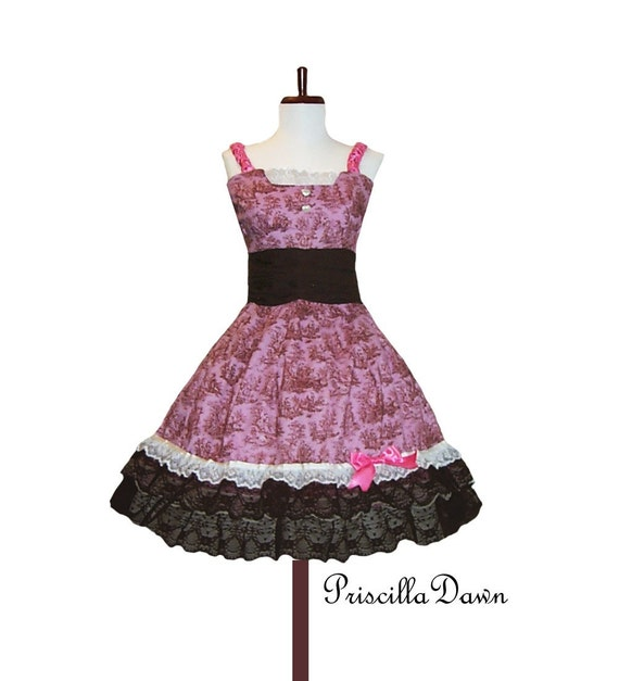 Classic Vintage inspired Pink Strawberry Chocolate Alice Teaparty Dress with Lace and Details