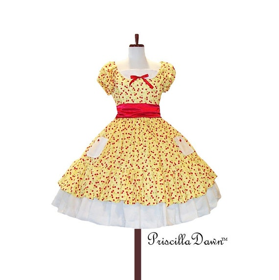 Puffed sleeved Rockabilly Cherry Dress with custom colors----- custom in your size