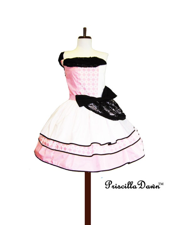 Strawberry Squares Party Dress Women's pink and black big bow custom in your size