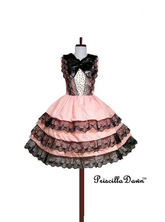 SALE Pink Tuxedo Three layer Cupcake Dress with Dots Dress------Custom in your size------