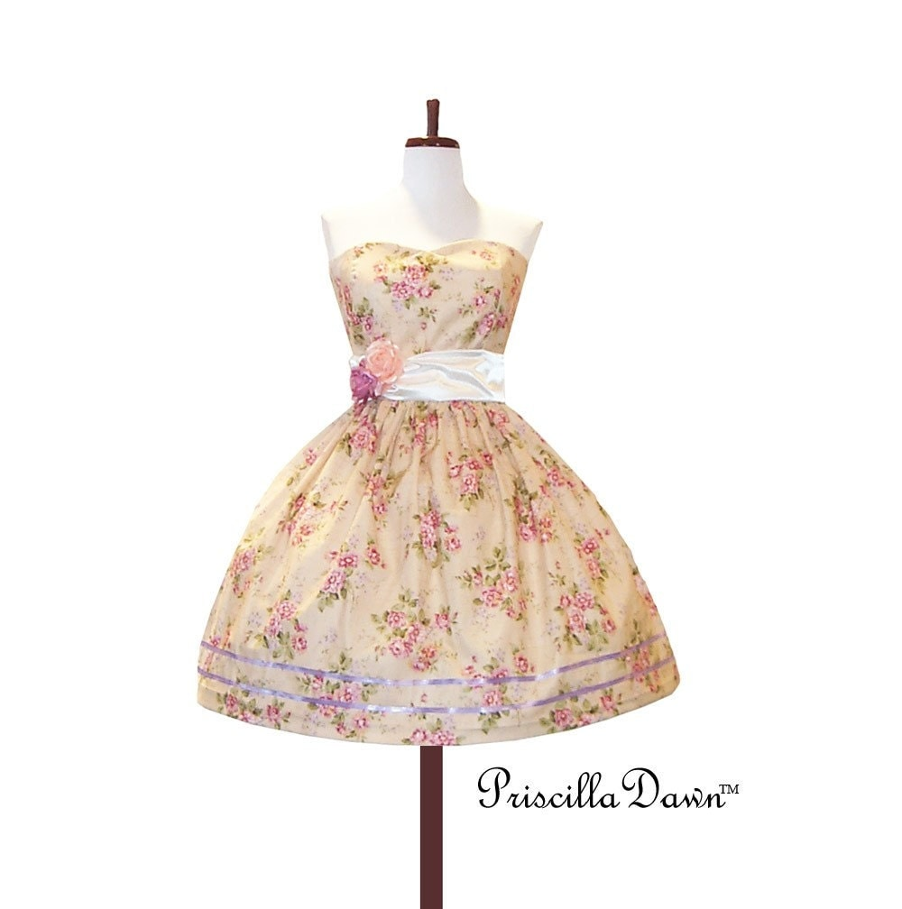 Custom In Your Size Floral Teaparty Dress
