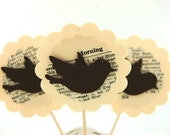 Vintage Vogue Bookish Birds 12 Cupcake Toppers