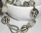 White jade Bracelet, boho chic bracelet, silver link bracelet, boho chic jewelry
