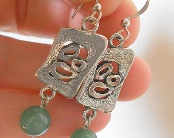 Jade earrings, hippie earrings, green earrings, boho drop earrings, silver link earrings, boho jewelry, green jade jewelry