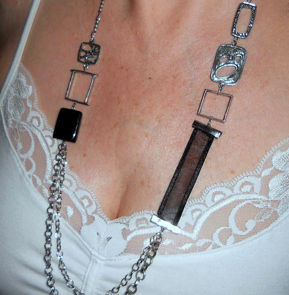 Chain necklace, Long black and silver multi chain ribbon  neckalce, Boho chic jewelry