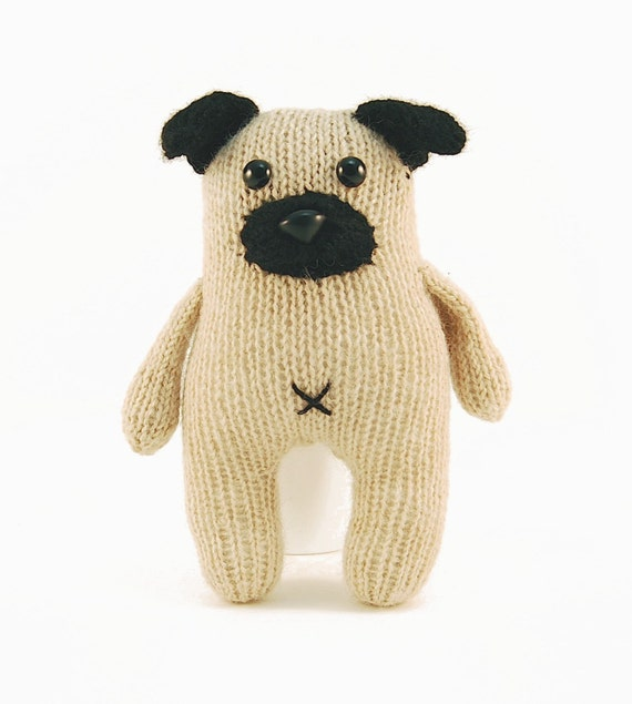 Knitted Pug Pattern : Wasabi the Gregarious Pug Knitting Pattern Pdf INSTANT