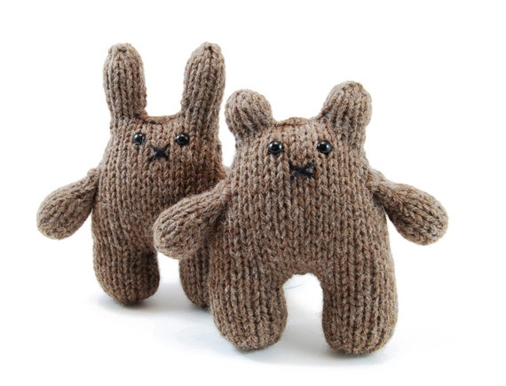 Beatrice and Bernard The Inseparable Bunny and Bear Knitting Pattern Pdf INSTANT DOWNLOAD