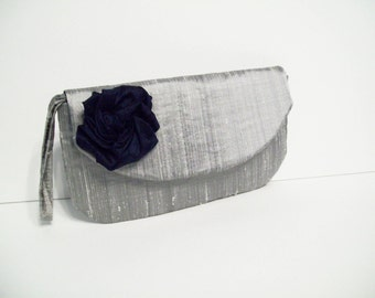 1 Alice Clutch w/hidden wrist strap in silver Silk Dupioni w/Navy Rose (choose your colors) Monogramming available