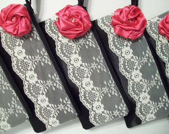 Clutch w/lace & rose (choose colors) Monogram available-Bridesmaids gifts, bridesmaid clutches, bridal clutches wedding party