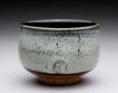 tea bowl - chawan black temmoku, white wood ash and orange shino wheel thrown cup