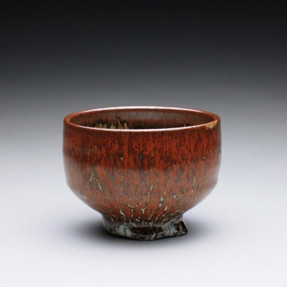 teacup - tea bowl with iron red and green celadon glazes
