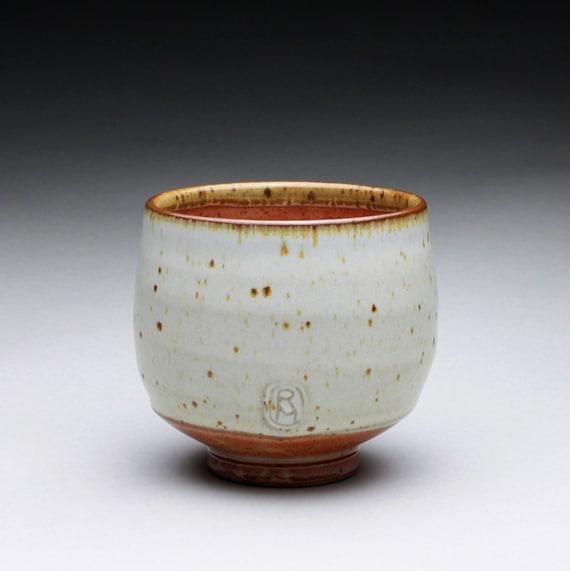 teacup - yunomi with satin white and orange shino glazes