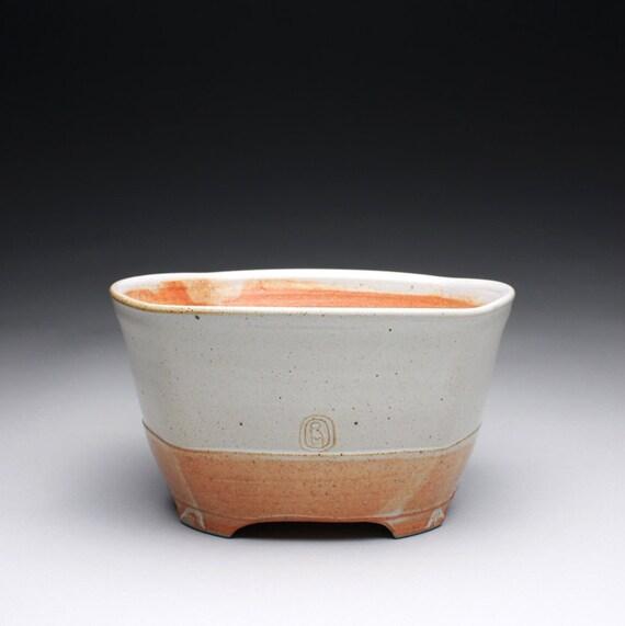 pottery bowl - serving bowl with white and orange shino glazes