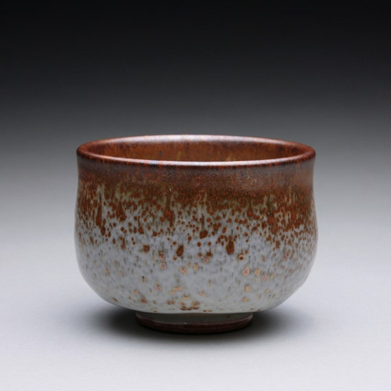tea bowl - chawan - teacup with layered shino glazes