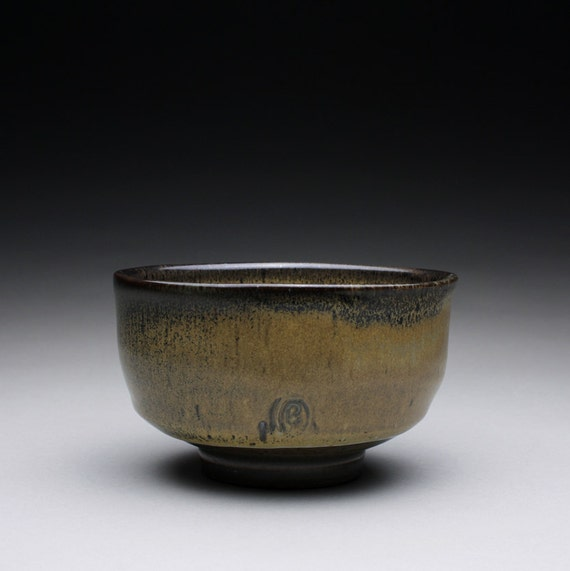 chawan - tea bowl - pottery bowl with wood ash and olive blue celadon glazes