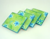 Flower Power Glass Tile Coasters Set of Four