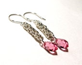 Byzantine Sterling Earrings with Swarovski Crystal Drops