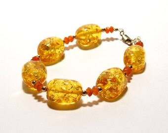 Baltic Amber and Carnelian Bracelet