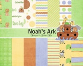 NOAH's ARK CHRISTian Paper Pack - Commercial or Personal Use Printable Digital Scrapbooking Background Papers Stationary