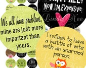 NEW- Witty and Sassy Quotes 1 Inch Rounds Images Buy 2 Get 1 FREE Sale - Digital Collage Sheet scrapbooking printable stickers card ephemera