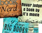 Instant Download - NEW- BOOK Nerd (1 x 1 Inch) Images  Sale - Digital Collage Sheet scrapbooking printable stickers card ephemera