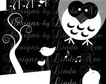 Instant Download - Birds and Owls Black and White (1 x 1 Inch) Images  SALE Digital Collage Sheet printable magnet button tree whimsical