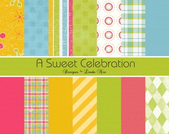 A Sweet Celebration Paper Pack - Commercial or Personal Use Printable Digital Scrapbooking Background Papers Stationary