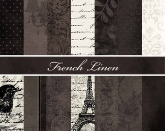 French Linen Black and Cream Shabby Chic Paper Pack - Commercial or Personal Use Printable Digital Scrapbooking Background Papers