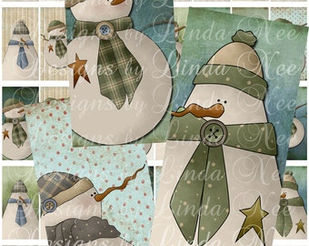 Instant Download - SNOWMAN Family Bobbins (1 x 2 inches Domino Size) Images Digital Collage Sheet Christmas primitive americana scrapbooking