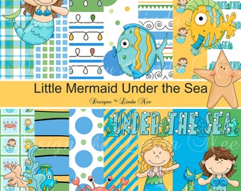 Little Mermaid Under the Sea Paper Pack and Clip Art Set - Commercial Personal Printable Digital Scrapbooking Background  Free