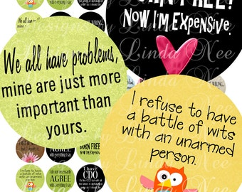 NEW- Witty and Sassy Quotes (1 Inch Rounds) Images  Sale - Digital Collage Sheet printable stickers magnet button funny owl