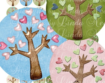 Instant Download - Whimsical Heart Trees (1 Inch Round) Images Digital Collage Sheet  SALE printable stickers magnet button