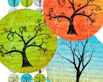 Instant Download - Forest of DrEAms (20 mm round) Images Digital Collage Sheet printable stickers magnet button tree