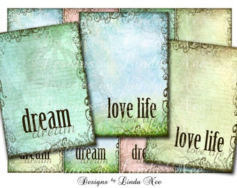 Inspirational Words 1 ARTIST TRADING Cards ACEO 2.5 x 3.5 Inch Images Digital Collage Sheet act dream love life quote crown mixed media